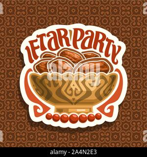 Vector logo for Ramadan Iftar, cut paper sign with pile of islamic fasting food - dried dates in old bronze bowl and red prayer beads or muslim rosary - Stock Photo