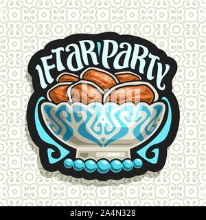 Vector logo for Ramadan Iftar Party, black sign with pile of islamic fasting food - dried dates in old silver bowl and blue prayer beads or muslim ros - Stock Photo