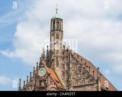 The Our Lady's church central square in Nuremberg - Stock Photo