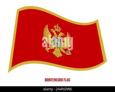 Montenegro Flag Waving Vector Illustration on White Background. Montenegro National Flag. - Stock Photo