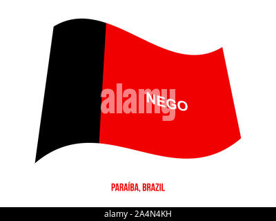 Paraiba Flag Waving Vector Illustration on White Background. States Flag of Brazil. - Stock Photo