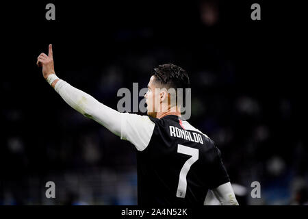 Juventus player Cristiano Ronaldo during the Inter-Juventus soccer match in San Siro Stadium - Stock Photo