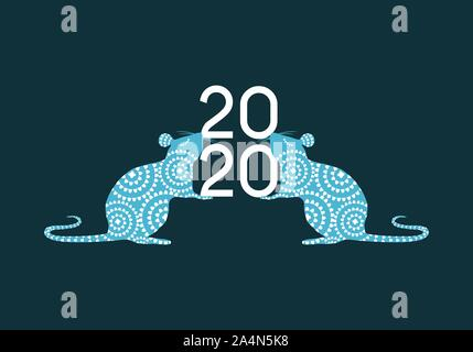 Happy Chinese New Year 2020 year of the Rat vector illustration in blue and white color palette - Stock Photo