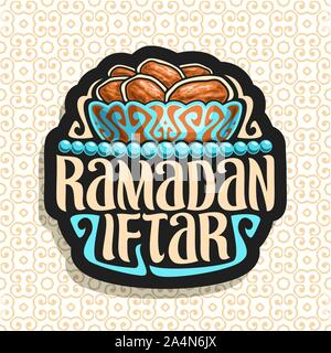 Vector logo for Ramadan Iftar, black sign with pile of islamic fasting food - dried dates in old bronze bowl and blue prayer beads or muslim rosary, o - Stock Photo