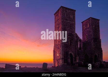 Reculver twin towers sunset - Stock Photo
