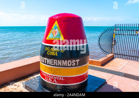 Key West, Florida, USA - September 12, 2019: Southernmost point in continental USA in key west, florida - Stock Photo