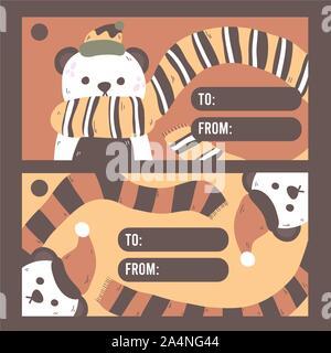 Christmas panda bear wearing santa hat gift card - Stock Photo