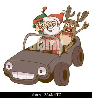 Christmas santa, gnome and reindeer riding a car - Stock Photo
