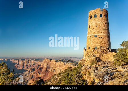 Desert View Watch Tower and canyon walls, Grand Canyon National Park, Arizona USA - Stock Photo
