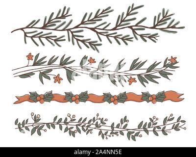 Christmas handdrawn border design set - Stock Photo