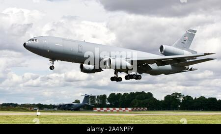 USAF KC-10A EXTENDER arriving at RAF Fairford for the Royal International Air Tattoo 2019 - Stock Photo