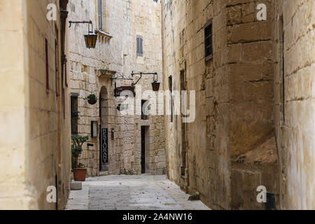 A general view of Triq Santa Sofija in Mdina on the island of Malta - Stock Photo