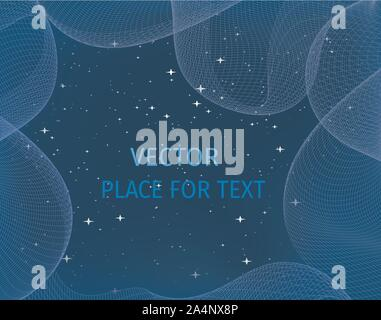 Starry sky with a  wireframe dynamic wave for text box Big data Vector illustration - Stock Photo