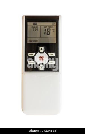 Remote control, air conditioner controller isolated on white background. Air temperature control indoors. - Stock Photo