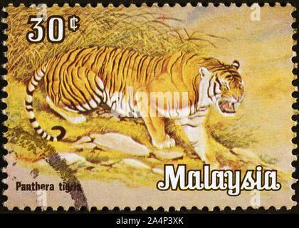 Tiger on malaysian postage stamp - Stock Photo