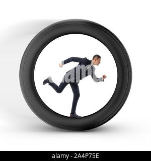 Businessman to be pressed for time is running in the center of a big wheel - Stock Photo