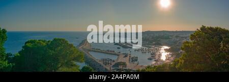 Santa Maria di Leuca, 18 August 2019: a stunning panorama at sunset of Santa Maria di Leuca where Adriatic sea and