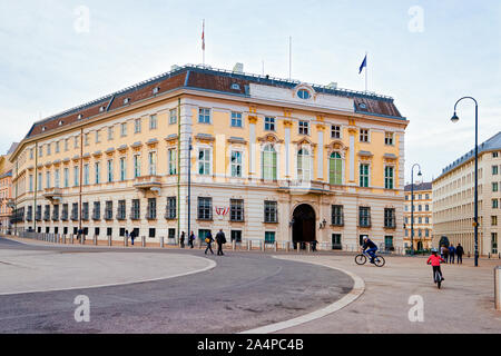 Bundeskanzleramt or Austrian Federal Chancellery on Ballhausplatz Square in Vienna - Stock Photo