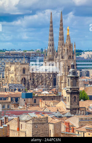 Bordeaux architecture view of Pey Berland Tower and Cathedrale Saint-Andre - Stock Photo