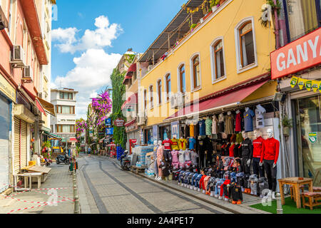 A colorful street full of gift and souvenir shops in the Sultanahmet district of Istanbul, Turkey - Stock Photo