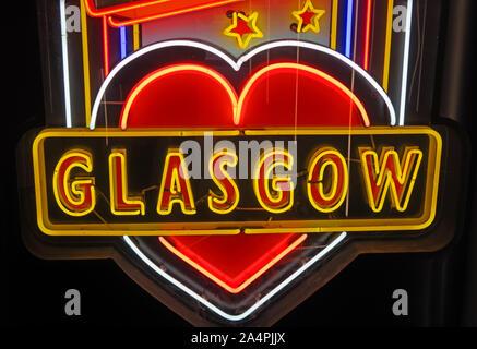 Glasgow School Of Art, Neon Sculptural Artwork, artist Sinclair Ross, - Stock Photo