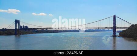 Aerial view of George Washington Bridge in Fort Lee, NJ. George Washington Bridge is a suspension bridge spanning the Hudson River connecting New Jersey to Manhattan New York - Stock Photo