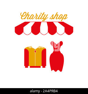 Charity Shop Sign, Emblem. Red and White Striped Awning Tent. Men's and Women's Clothing Icon. Gold and Red Colors. Flat Illustration. - Stock Photo