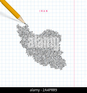 Iran sketch scribble map drawn on checkered school notebook paper background. Hand drawn map of Iran. Realistic 3D pencil. - Stock Photo