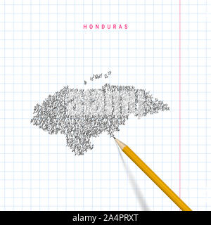 Honduras sketch scribble map drawn on checkered school notebook paper background. Hand drawn map of Honduras. Realistic 3D pencil. - Stock Photo