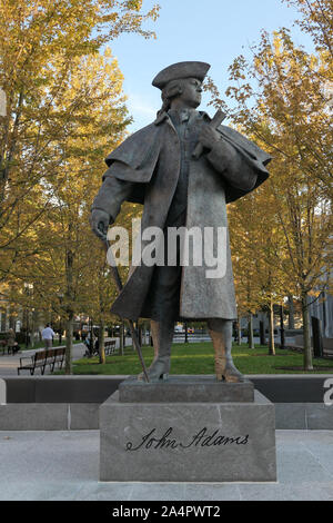 John Adams statue in Quincy Center Massachusetts - Stock Photo