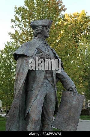 John Hancock statue in Quincy Center, Massachusetts - Stock Photo