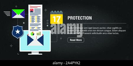 Protection, banner internet with icons in vector. Web banner template for website, banner internet for mobile design and social media app.Business and - Stock Photo
