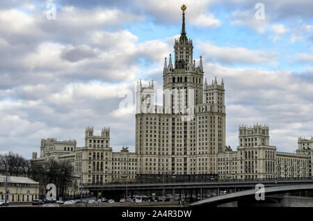 MOSCOW,RUSSIA - MARCH 11,2014: Moscow cityscape with Stalin's high-rise building on kotelnicheskaya embankment - Stock Photo