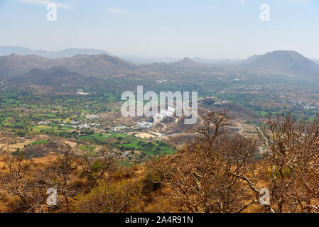 Aerial view from Monsoon Palace. Udaipur. Rajasthan India - Stock Photo