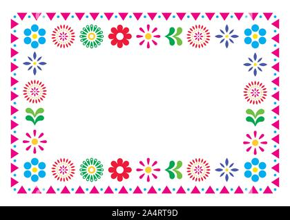 Mexican vector greeting card or wedding invitation, decorative design with flowers and abstract shapes inspired by traditional art from Mexico - Stock Photo