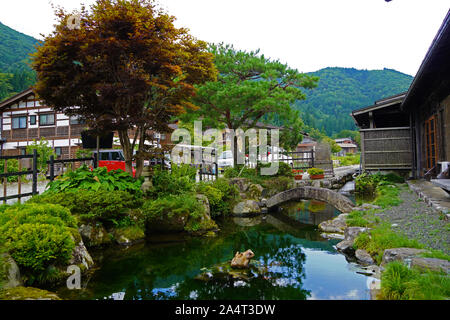Very delicate and compact Japanese-style courtyard, it looks very comfortable. - Stock Photo