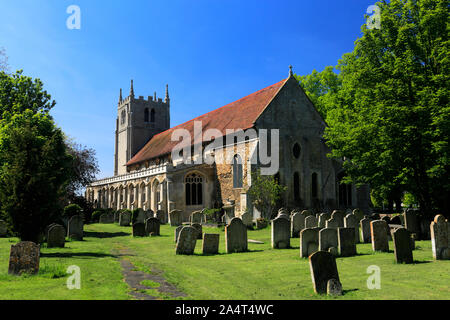 Summer, St Thomas a Becket Church, Ramsey village; Cambridgeshire; England; UK - Stock Photo