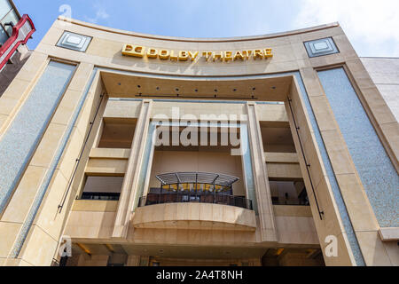 Los Angeles, California, USA. May 31, 2019. Front upwards view of the Dolby Movie Theatre, also known as the Kodak Movie Theatre, located in LA - Stock Photo