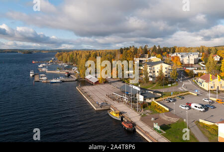 Puumala, Finland–October 5, 2019: Top view of the townscape with the church and the boats on the bank of The Saimaa Lake. Puumala Municipality - Stock Photo