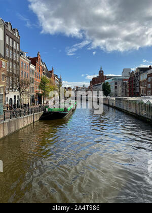 Amsterdam, Netherlands - October 2,2019: Flower Market in Amsterdam. It is the only floating flower market in the world, and one of the most fragrant - Stock Photo