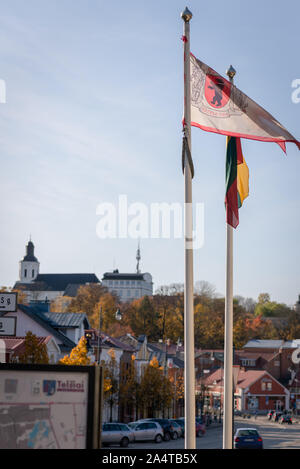 Park City, Lithuania- October 15, 2019: Ski resort famous town in Telsiai during summer with downtown colorful historic buildings and cars - Stock Photo