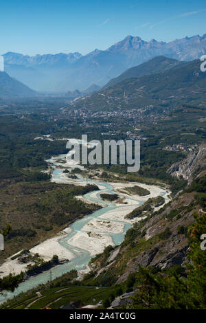 Rhone Valley Valais Switzerland looking east towards Sierre Sept 2019 The River Rhone slows down on the flat valley floor resulting in silting up prob - Stock Photo