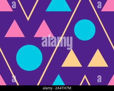 Memphis seamless pattern. Geometric elements memphis in the style of 80's. Vector illustration - Stock Photo