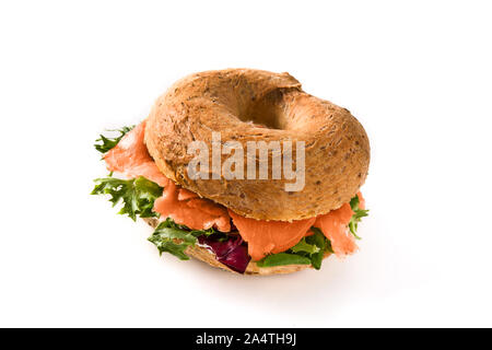 Bagel sandwich with cream cheese, smoked salmon and vegetables isolated on white background. - Stock Photo
