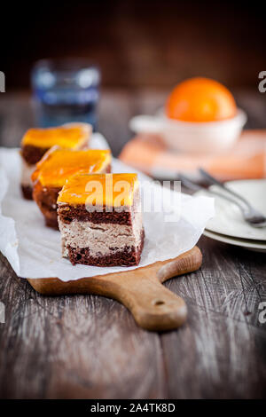 Homemade chocolate cake with peach mousse - Stock Photo
