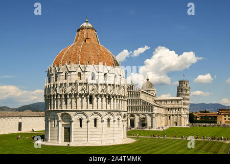 Elevated, panoramic view of the famous Piazza dei Miracoli in Pisa with the Baptistry of St John, the Cathedral and the Leaning Tower, Tuscany, Italy Stock Photo