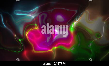 Reflection of flickering colored lights in liquid. Computer generated abstract background. 3d rendering