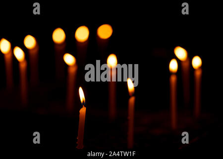 Diwali decoration background - Candles burning in a zigzag pattern during indian festive celebration. Concept for hindu, christian, buddhist, traditio - Stock Photo