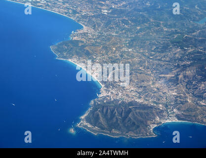 Aerial View of the Western Coast of Italy looking at the area around the town of Santa Maria di Castellabate. - Stock Photo