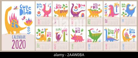 Vector 2020 calendar template with dinosaurs in kids cartoon style - Stock Photo